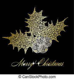 Golden christmas holly berries made of snowflakes on black background. Vector eps10 illustration