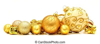 Golden Christmas ornament border - Collection of golden ...