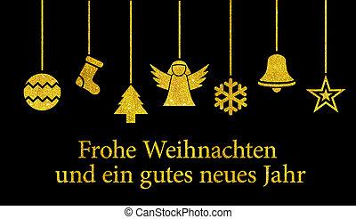 Frohe Weihnachten Und Happy New Year.Frohe Weihnachten Golden Thaler Red Ornaments German Text Frohe