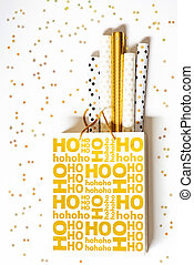 Golden christmas shopping bag with wrapping paper