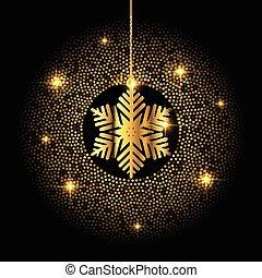 Golden Christmas snowflake background