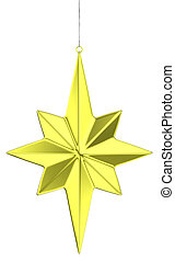 Golden christmas star decoration hanging on a narrow silver ribbon isolated on white background