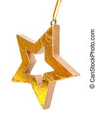Golden Christmas star, isolated on white background
