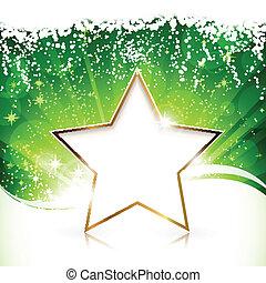 Golden Christmas star on green background