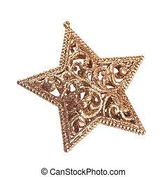 golden christmas star on white background