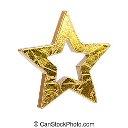 Golden Christmas stars, isolated on white background