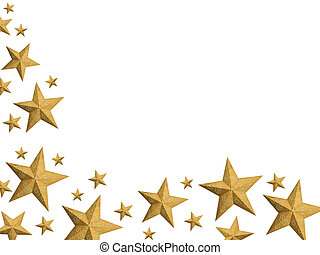 Hand painted golden Christmas stars frame (isolated)