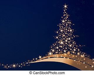 Golden Christmas - golden christmas tree of stars on a blue...