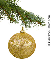 golden Christmas toy on a branch