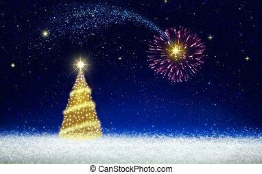 Golden Christmas tree and Fireworks on star sky. Christmas...