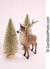 golden christmas tree and reindeer pink - golden christmas...