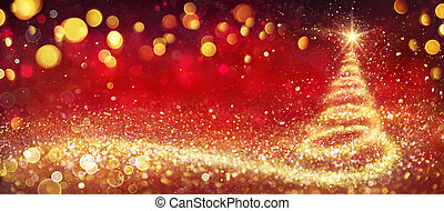 Golden Christmas Tree In Red Festive Background