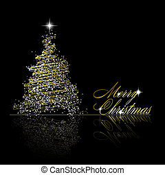 Golden Christmas tree made of gold ribbons and stars on black background. Vector eps10 illustration