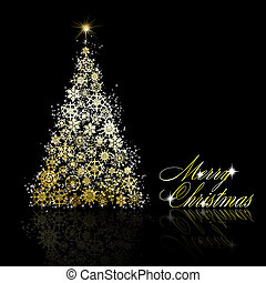 Golden Christmas tree made of gold snowflakes and stars on black background. Vector eps10 illustration