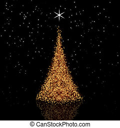 Golden Christmas tree on black background with reflection