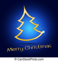 golden christmas tree on blue background