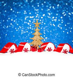 Golden Christmas tree on glitter blue background
