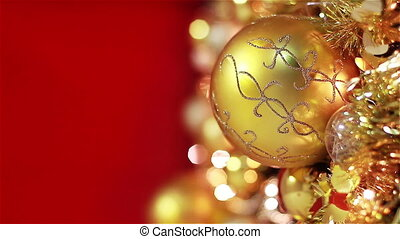 Golden Christmas Tree on Red
