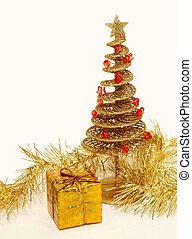 Golden Christmas tree with a box.