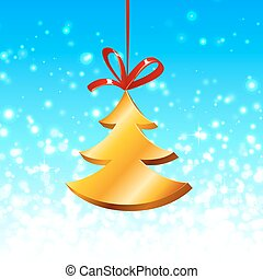 Christmas tree with red ribbon on the blue