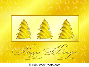 Golden Christmas Trees