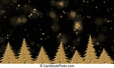 Golden Christmas trees in the holly night, golden lights, star falling