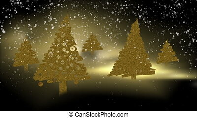 Golden Christmas trees in the snowy magical night -...