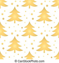 Golden Christmas trees seamless pattern