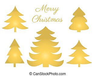 Golden Christmas trees set icons