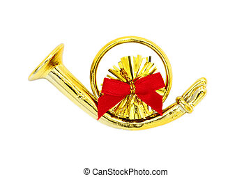 Golden christmas trumpet  and red ribbon on a white background