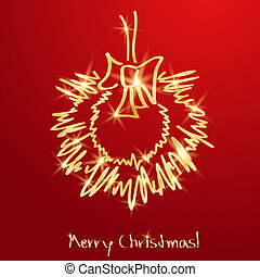 Golden Christmas wreath on a red background