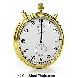 Golden chronometer, isolated on white background