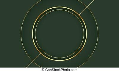 golden circle frame on green background design