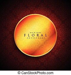 golden circle frame on red background