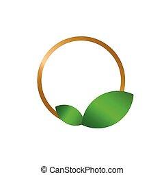 Golden circle frame with leaf