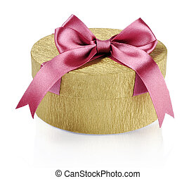 Golden circle gift box with pink ribbon over white...