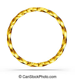 golden circle isolated on a white. 3d illustration