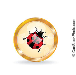 Golden circle label (button) with ladybug