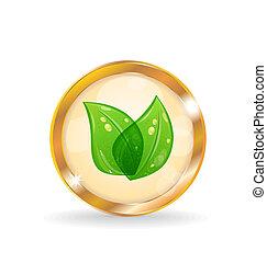 Golden circle label with eco leaves - Illustration golden...