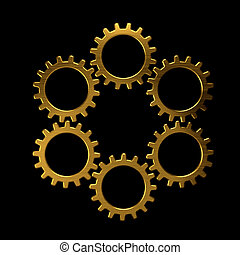 Golden circle of gears