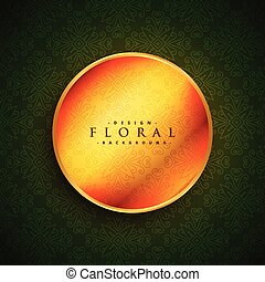 golden circle on green vintage background