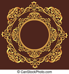 Golden Circle Ornament - A vector set of a beautiful...