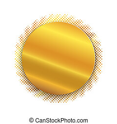 Golden circle plate isolated. Vector illustration. - Golden...