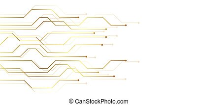 golden circuit board electronics digital technology banner