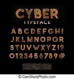 Golden circuit board pattern typeface.
