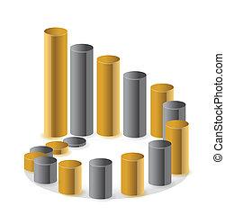 Golden circular business chart