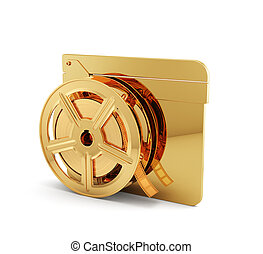 Golden clapper board with film reel