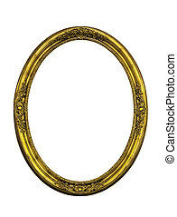 Golden classic ellipse frame isolated