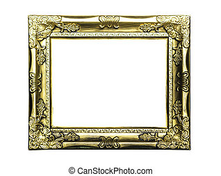 Golden classic frame isolated
