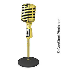 Golden classic microphone on black stand, isolated on white...